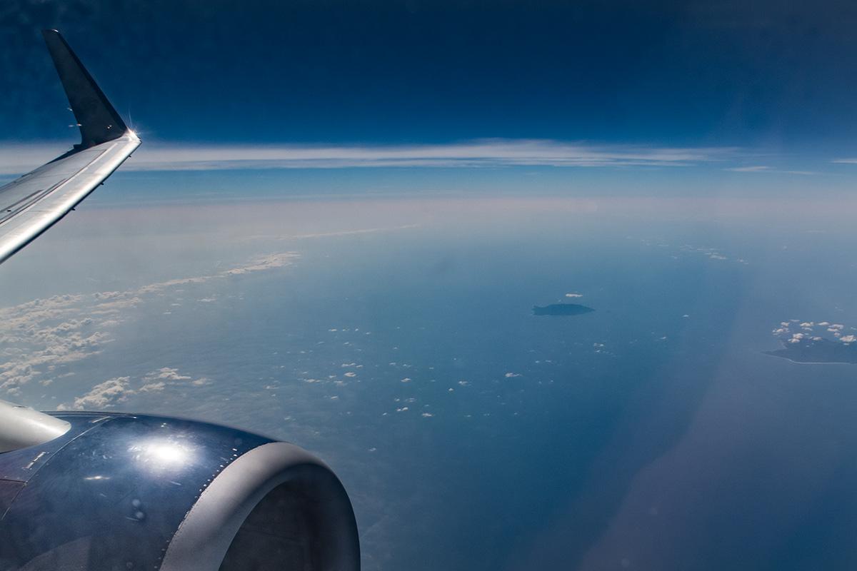 Flug über den Golf von Kalifornien