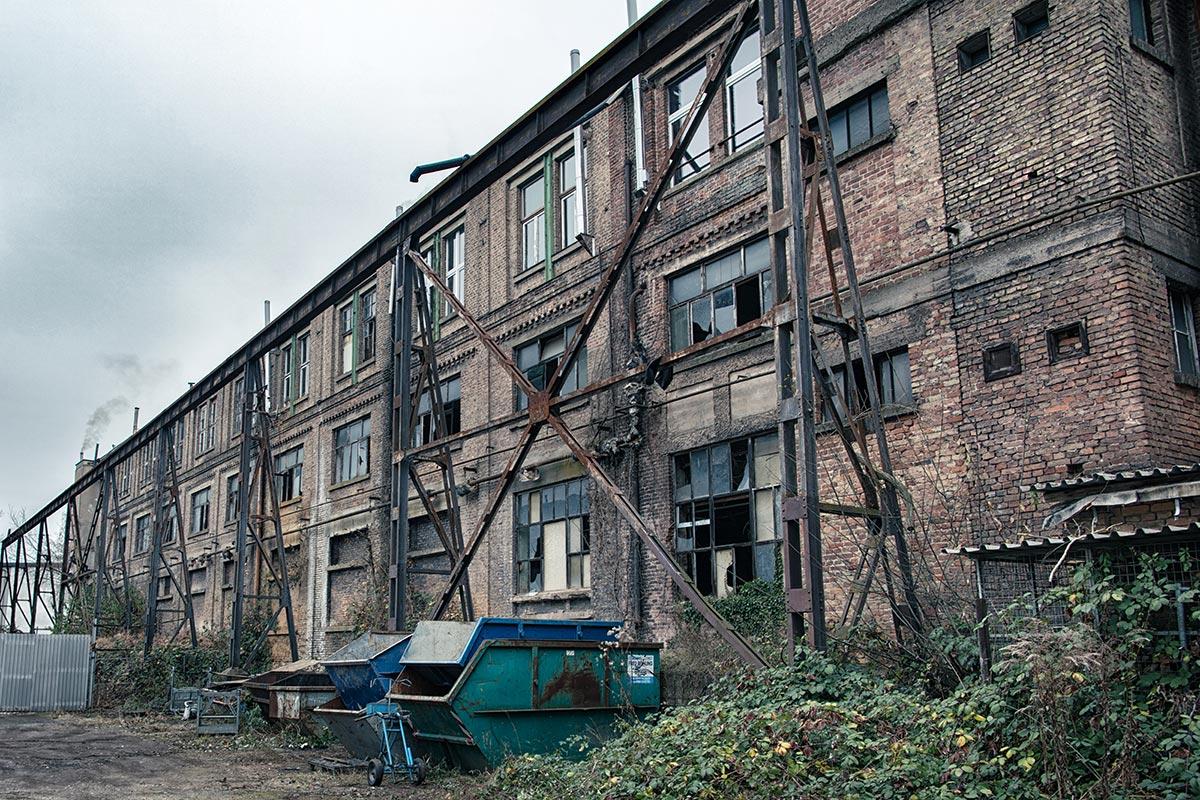 Rückwärtige Ansicht der Phirix Papierfabrik Hattersheim