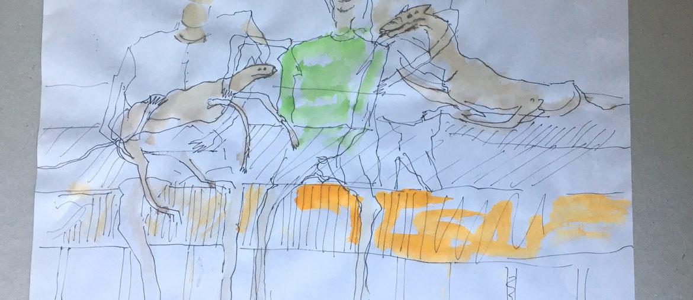 Zeichnung: Peter Fassbender 2016, Foto: Karla Schwede 2019