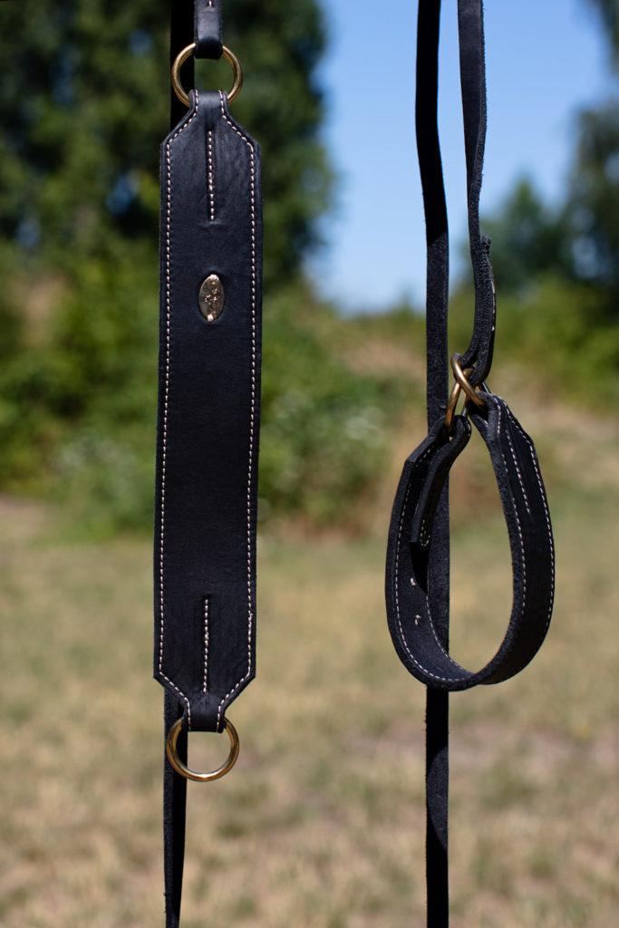 Slip-Leinen aus Fettleder mit Ringen aus Messing von LeRoiy