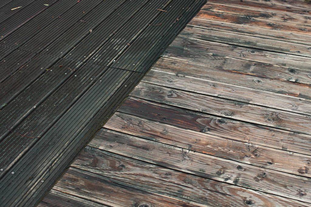 Leben im Lockdown - Unser Holzboden vor und nach dem Hochdruckreiniger.
