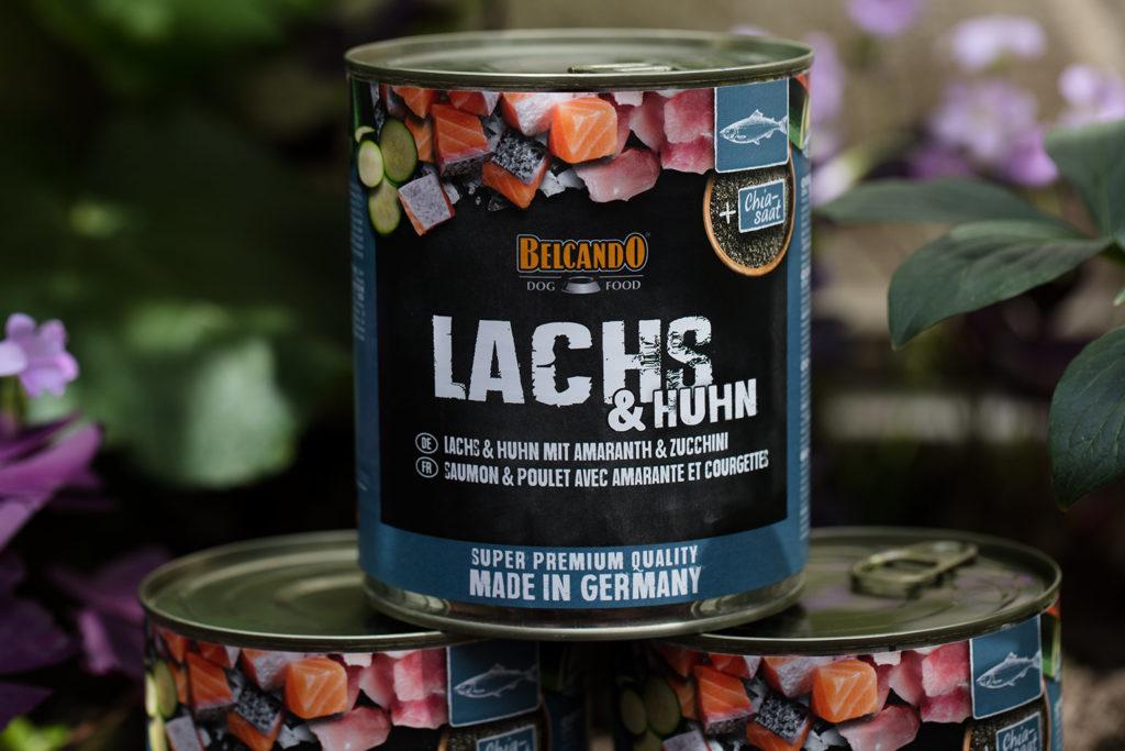 Belcando Super Premium Nassfutter Lachs & Huhn mit Amaranth und Zucchini in der 500 Gramm Dos