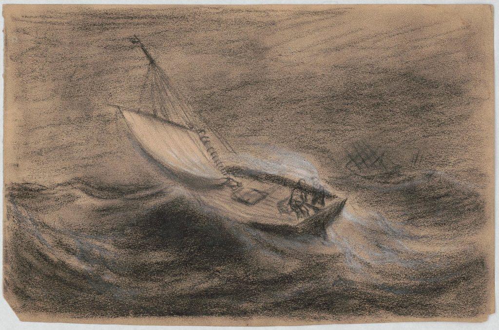 """So oder so ähnlich müssen Bob und mein Vater wohl durch den Golf von Hammamet gedümpelt sein. """"Two men on a small sailboat in rough sea"""", Quelle: Wikimedia Commons"""