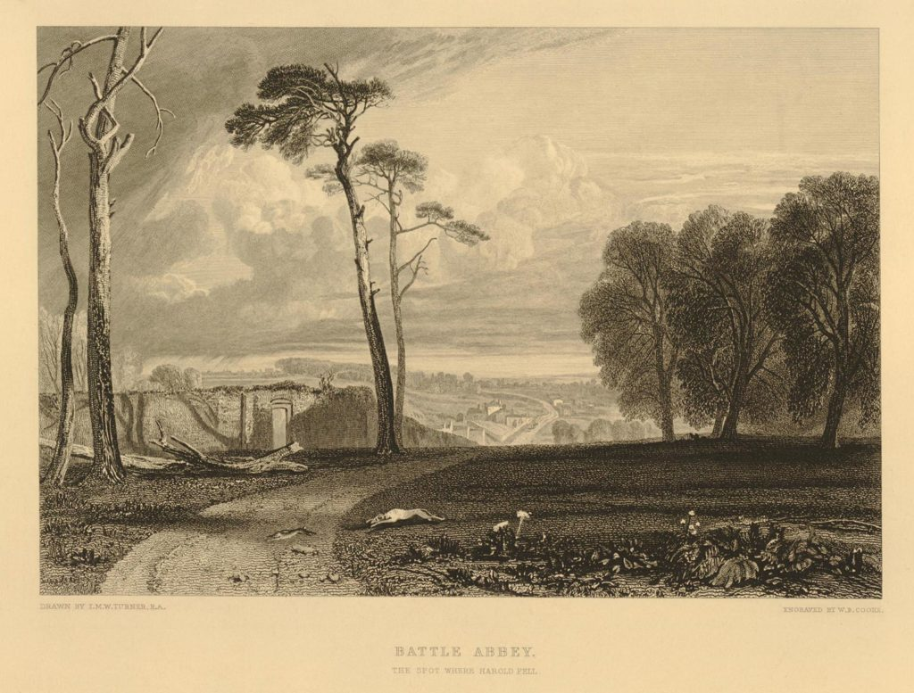 © The Trustees of the British Museum, Battle Sussex, the spot were Herald fell, after: Joseph Mallord William Turner, print by: William Bernard Cook, England 1816